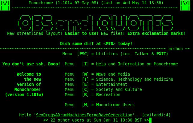 Aspecto de BBS (Bouletin Board System)